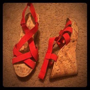 Red elastic strap espadrilles